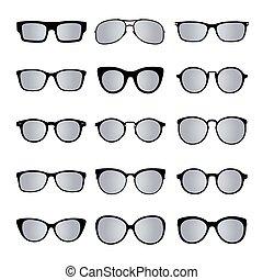 jogo, de, óculos, isolated., vetorial, icons.