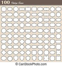 jogo, de, 100, em branco, vindima, quadro, branco, fundo