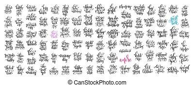 jogo, de, 100, mão, lettering, convite casamento, e, romanticos, valent