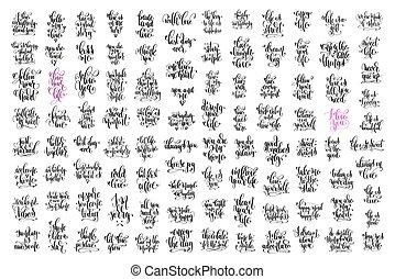 jogo, de, 100, mão, lettering, inscrição, amor, letras, positivo, quo