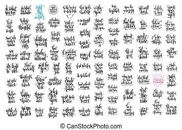 jogo, de, 100, mão, lettering, inscrição, positivo, citação