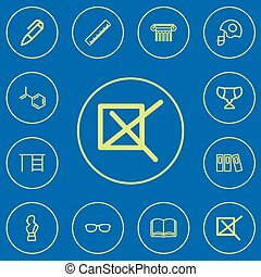 jogo, de, 12, editable, ciência, esboço, icons., inclui, símbolos, tal, como, marca, livro, leme, e, more., lata, ser, usado, para, teia, móvel, ui, e, infographic, design.