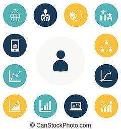jogo, de, 13, editable, estatística, icons., inclui, símbolos, tal, como, arquitetura, torta, gráfico, negociar, bolsa, e, more., lata, ser, usado, para, teia, móvel, ui, e, infographic, design.
