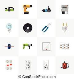 jogo, de, 16, editable, elétrico, icons., inclui, símbolos,...