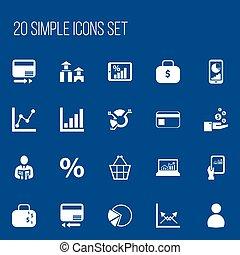 jogo, de, 20, editable, estatística, icons., inclui, símbolos, tal, como, negociar, bolsa, torta, gráfico, gráfico, informação, e, more., lata, ser, usado, para, teia, móvel, ui, e, infographic, design.
