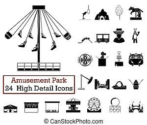jogo, de, 24, parque divertimento, ícones