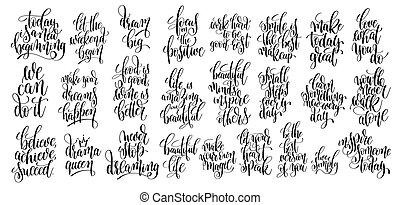 jogo, de, 25, mão escrita, lettering, motivational, citação
