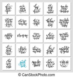 jogo, de, 25, mão, lettering, convite casamento, e, romanticos, valenti