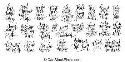 jogo, de, 25, mão, lettering, motivational, citação
