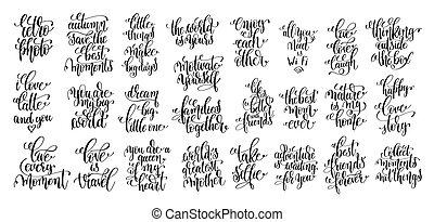 jogo, de, 25, mão, lettering, motivational, e, inspirational, citação, p