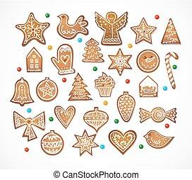 jogo, de, 25, realístico, bolinhos gingerbread, isolado, branco, experiência., vetorial, illustration.