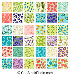 jogo, de, 36, seamless, floral, patterns.