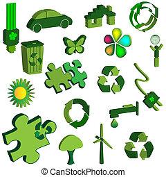 jogo, de, 3d, eco, ícones
