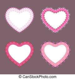 jogo, de, 4, cute, renda, borda, coração, etiquetas, vetorial, ilustração