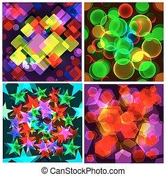 jogo, de, 4, seamless, patterns., a, abstratos, colorido, design.