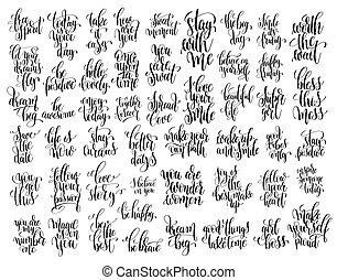 jogo, de, 50, mão escrita, lettering, motivational, citação