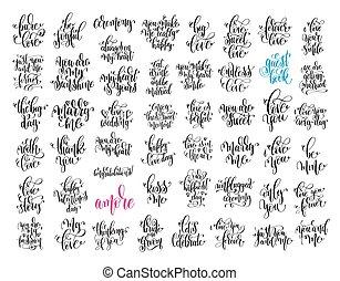 jogo, de, 50, mão, lettering, convite casamento, e, romanticos, valenti