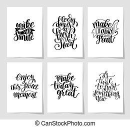 jogo, de, 6, mão escrita, lettering, positivo, inspirational, citação