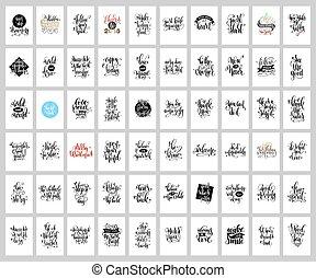 jogo, de, 60, mão, lettering, cartazes, positivo, e, feriado, citação
