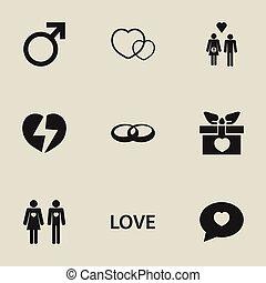 jogo, de, 9, editable, amor, icons., inclui, símbolos, tal,...