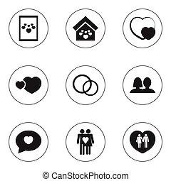 jogo, de, 9, editable, coração, icons., inclui, símbolos,...