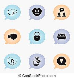 jogo, de, 9, editable, coração, icons., inclui, símbolos, tal, como, matrimônio, feliz, colchão, e, more., lata, ser, usado, para, teia, móvel, ui, e, infographic, design.