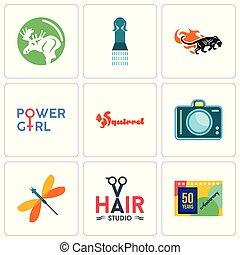 jogo, de, 9, simples, editable, ícones, tal, como, 50, anos, aniversário, cabelo, estúdio, libélula