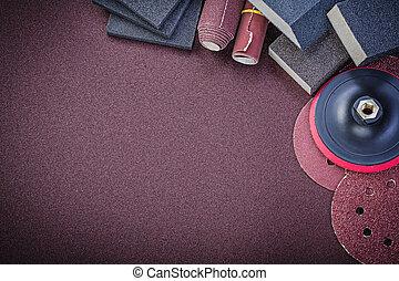 jogo, de, abrasivo, ferramentas, ligado, polimento, papel, espaço cópia