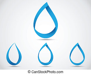 jogo, de, abstratos, água azul, gota