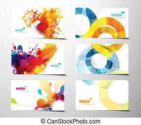 jogo, de, abstratos, coloridos, respingo, presente, cartões.