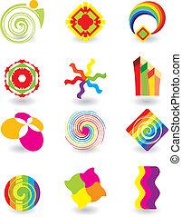jogo, de, abstratos, elementos, para, desenho