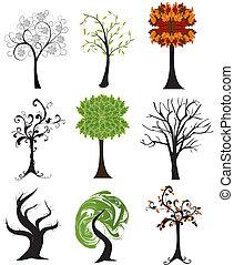 jogo, de, abstratos, sazonal, árvores