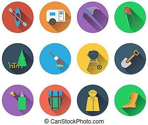 jogo, de, acampamento, ícones