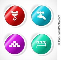 jogo, de, adesivos, com, ícones