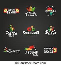 jogo, de, africano, rastafari, som, vetorial, logotipo, designs., jamaica, reggae, música, template., coloridos, dub, conceito, ligado, experiência escura