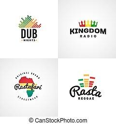 jogo, de, africano, rastafari, som, vetorial, logotipo, designs., jamaica, reggae, música, template., coloridos, dub, conceito