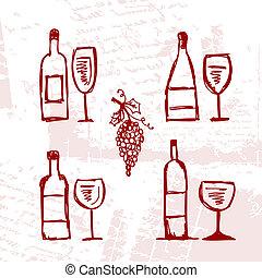 jogo, de, alcohol's, garrafas, e, wineglasses, ligado,...