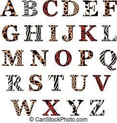 jogo, de, alfabeto, letras, com, pele animal, padrões