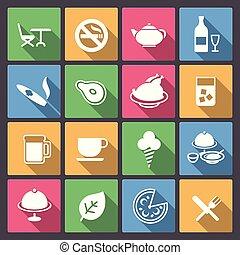 jogo, de, alimento, e, álcool, bebida, ícones