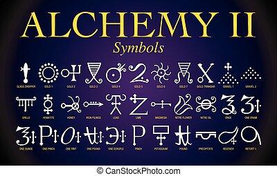 jogo, de, alquimia, símbolos