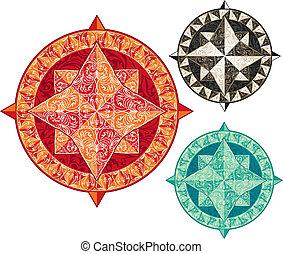 jogo, de, antigüidade, ornamental, vento, rosas, em, diferente, colors.