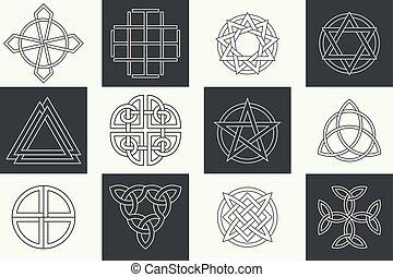 jogo, de, antiga, símbolos