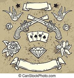 jogo, de, antigas, escola, tatuagem, elementos