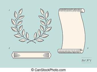jogo, de, antigas, vindima, bandeira fita, e, grinalda loureiro, em, gravura, style., mão, desenhado, desenho, element., vetorial, illustration.