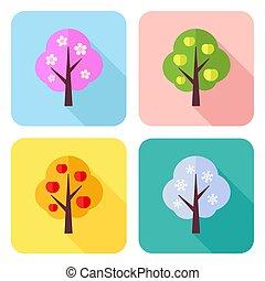 jogo, de, apartamento, ícones, com, quatro estações, árvores, -, primavera, verão, outono, inverno
