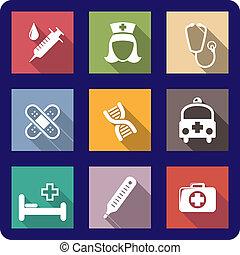 jogo, de, apartamento, ícones médicos