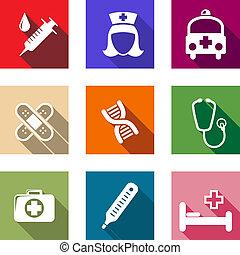jogo, de, apartamento, cuidados de saúde, e, ícones médicos