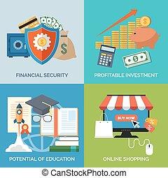 jogo, de, apartamento, desenho, ícones conceito, para, business., financeiro, securit