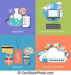 jogo, de, apartamento, desenho, ícones conceito, para, business., pesquisa, distanc