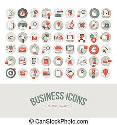 jogo, de, apartamento, desenho, ícones negócio
